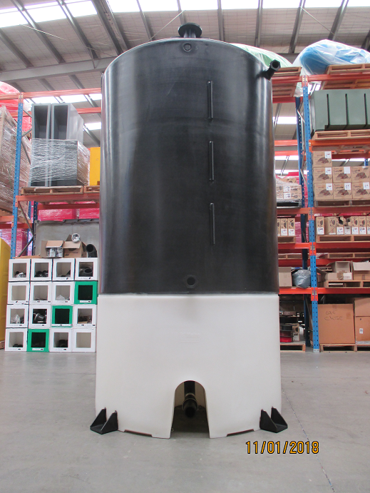 Photo of 3750 litre Cone Tank with pipe mounts on Heavy Duty Stand