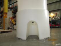 Close up of cone tank heavy duty stand